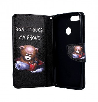 Knížkové pouzdro na Huawei Y6 Prime 2018 Don't touch méďa (2)