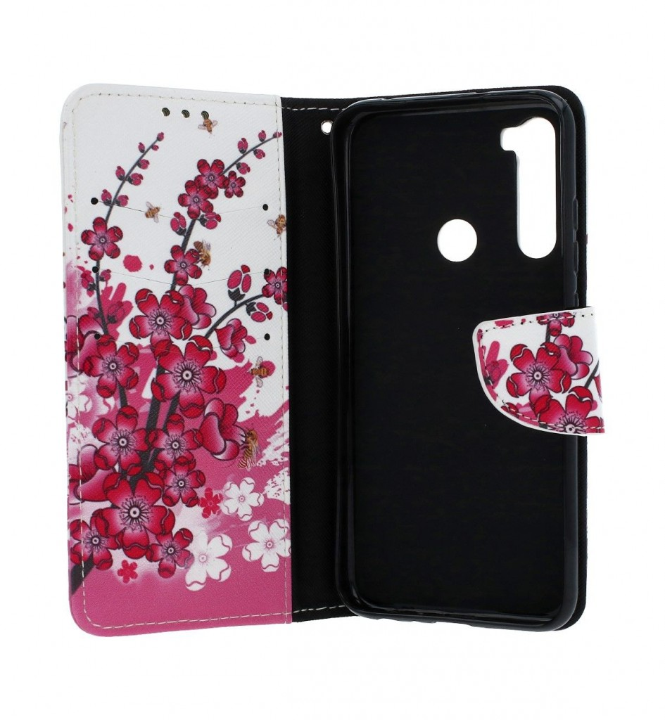 Obal kryt na mobil Xiaomi Redmi Note 8T knížkové Kytičky textil (2)
