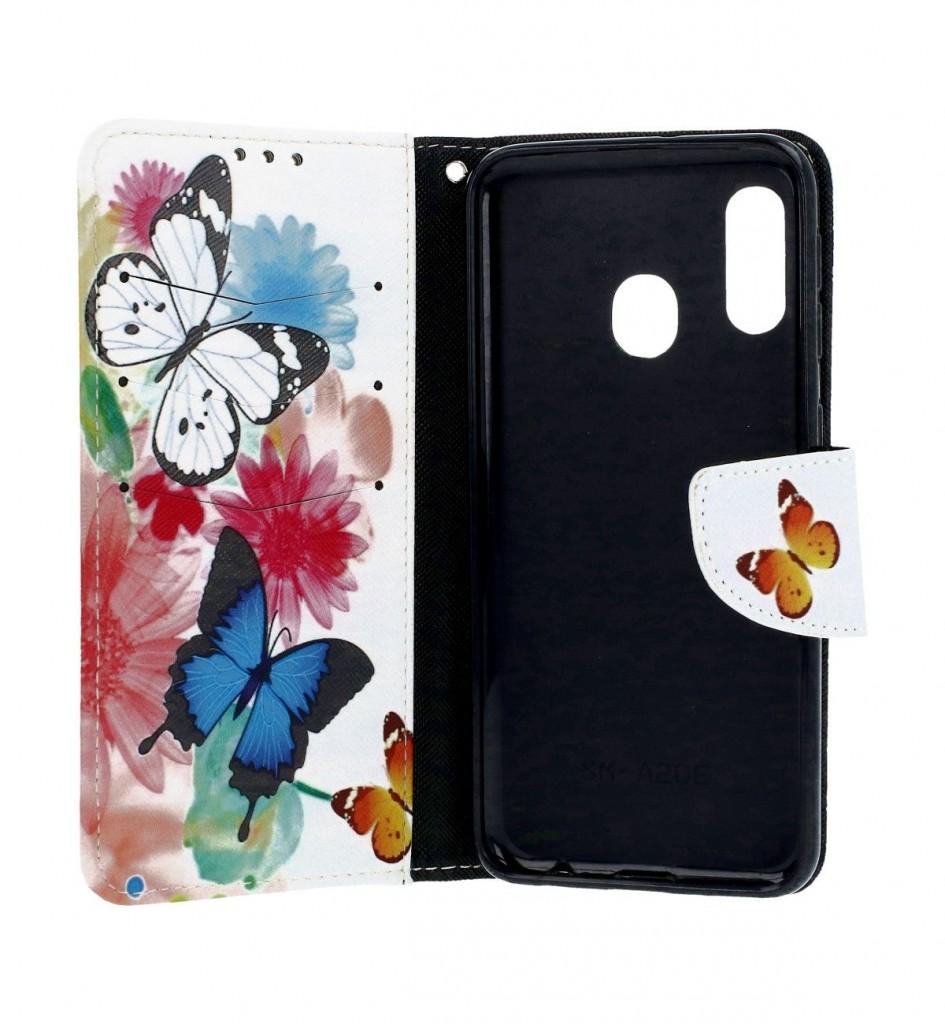 Knížkové pouzdro na Samsung A20e Barevné s motýlky (2)