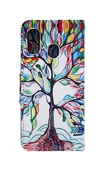 Knížkové pouzdro na Samsung A20e Barevný strom