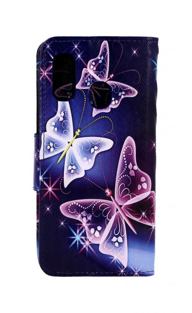 Knížkové pouzdro na Samsung A20e Modré s motýlky