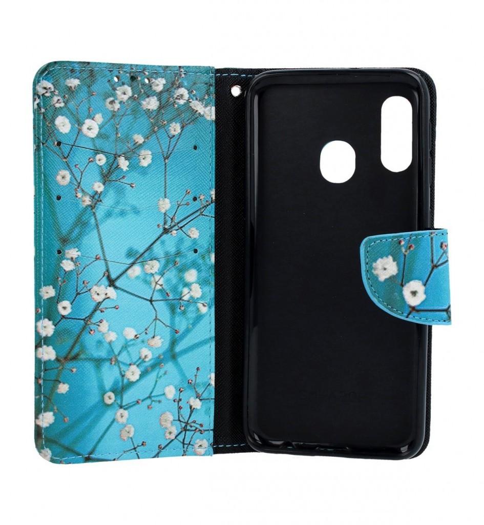 Knížkové pouzdro na Samsung A20e Modré s květy (2)