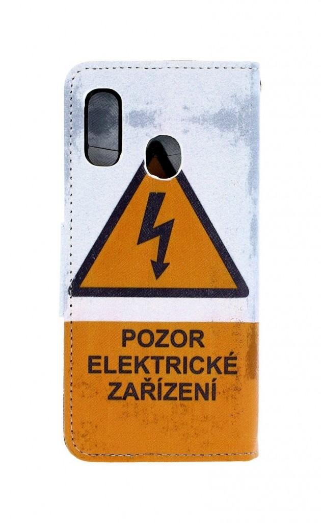 Knížkové pouzdro na Samsung A20e Pozor elektrické zařízení