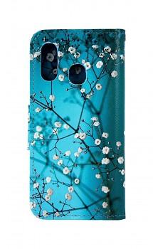 Knížkové pouzdro na Samsung A40 Modré s květy