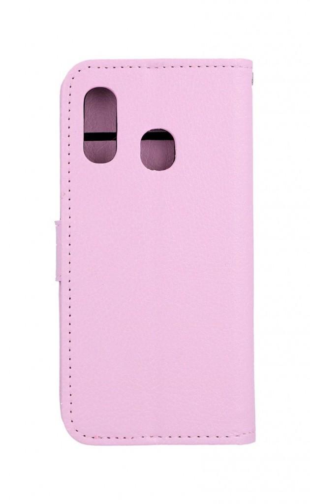 Knížkové pouzdro na Samsung M20 světle růžové s přezkou