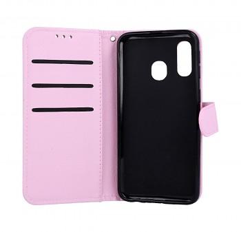 Knížkové pouzdro na Samsung M20 světle růžové s přezkou (2)