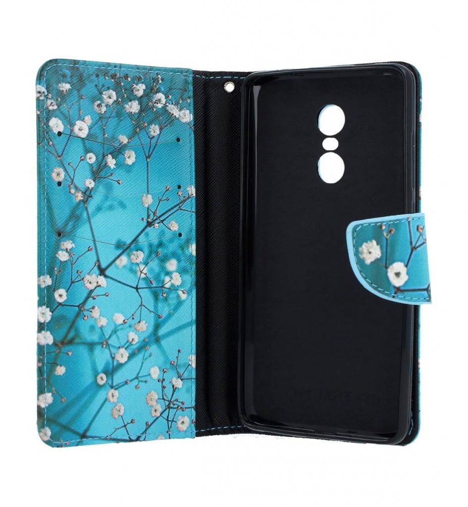 Knížkové pouzdro na Xiaomi Redmi Note 4 Global Modré s květy (2)