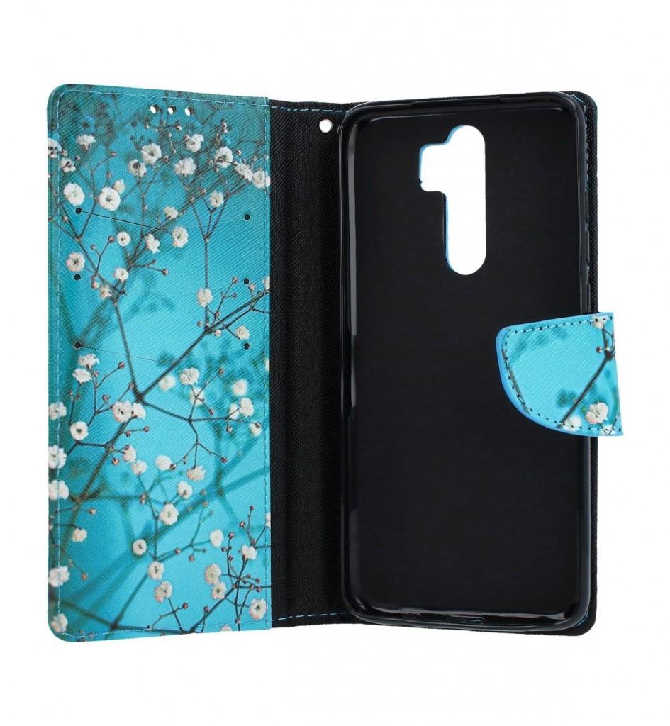 Knížkové pouzdro na Xiaomi Redmi Note 8 Pro Modré s květy (2)