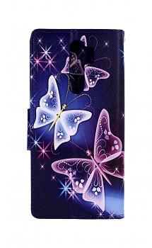 Knížkové pouzdro na Xiaomi Redmi Note 8 Pro Modré s motýlky