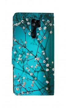 Knížkové pouzdro na Xiaomi Redmi 9 Modré s květy
