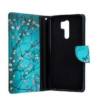 Knížkové pouzdro na Xiaomi Redmi 9 Modré s květy (2)