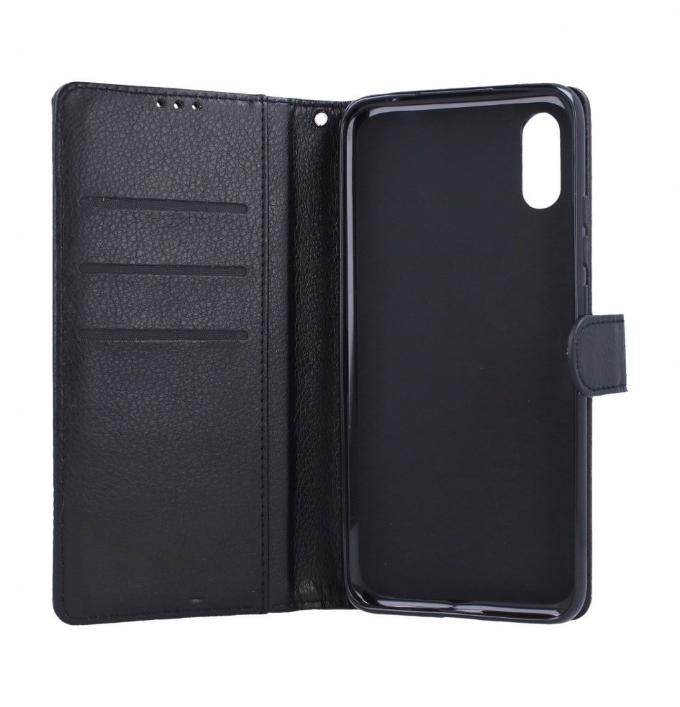 Pouzdro kryt na mobil Xiaomi Redmi 9A knížkové černé s přezkou (3)