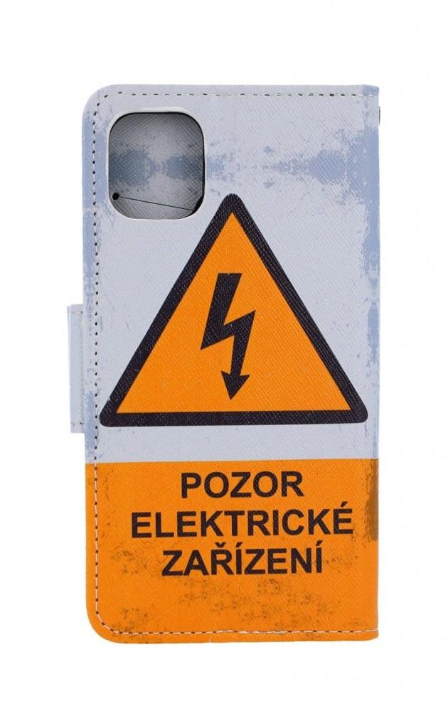 Knížkové pouzdro na iPhone 11 Pozor elektrické zařízení