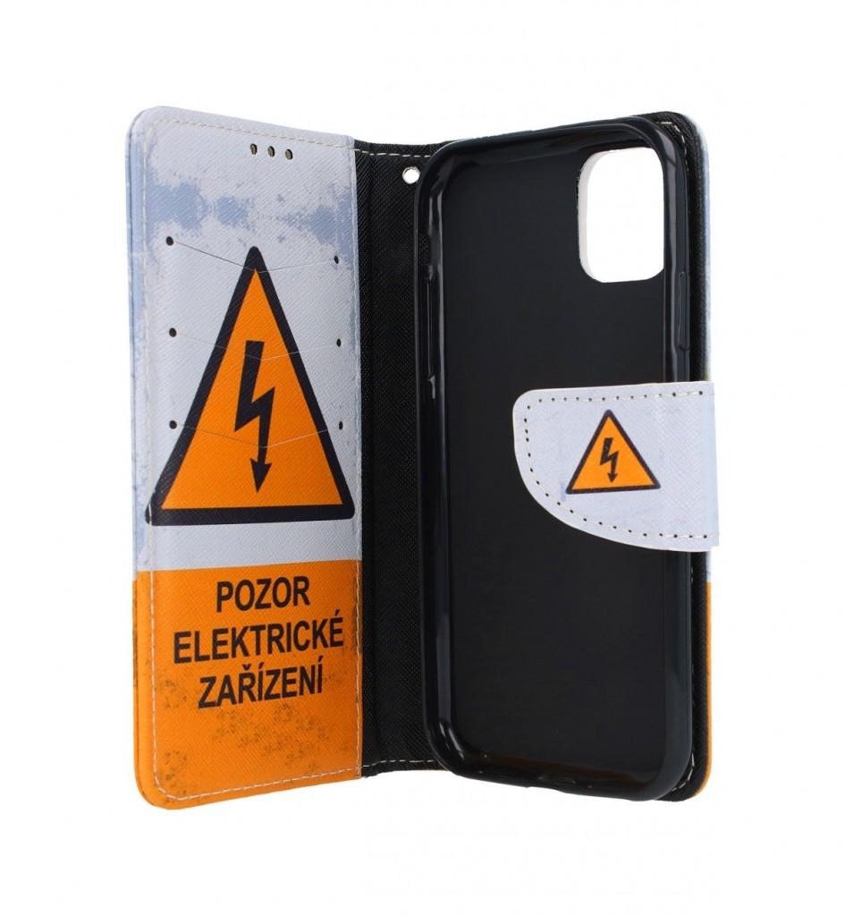 Knížkové pouzdro na iPhone 11 Pozor elektrické zařízení (2)