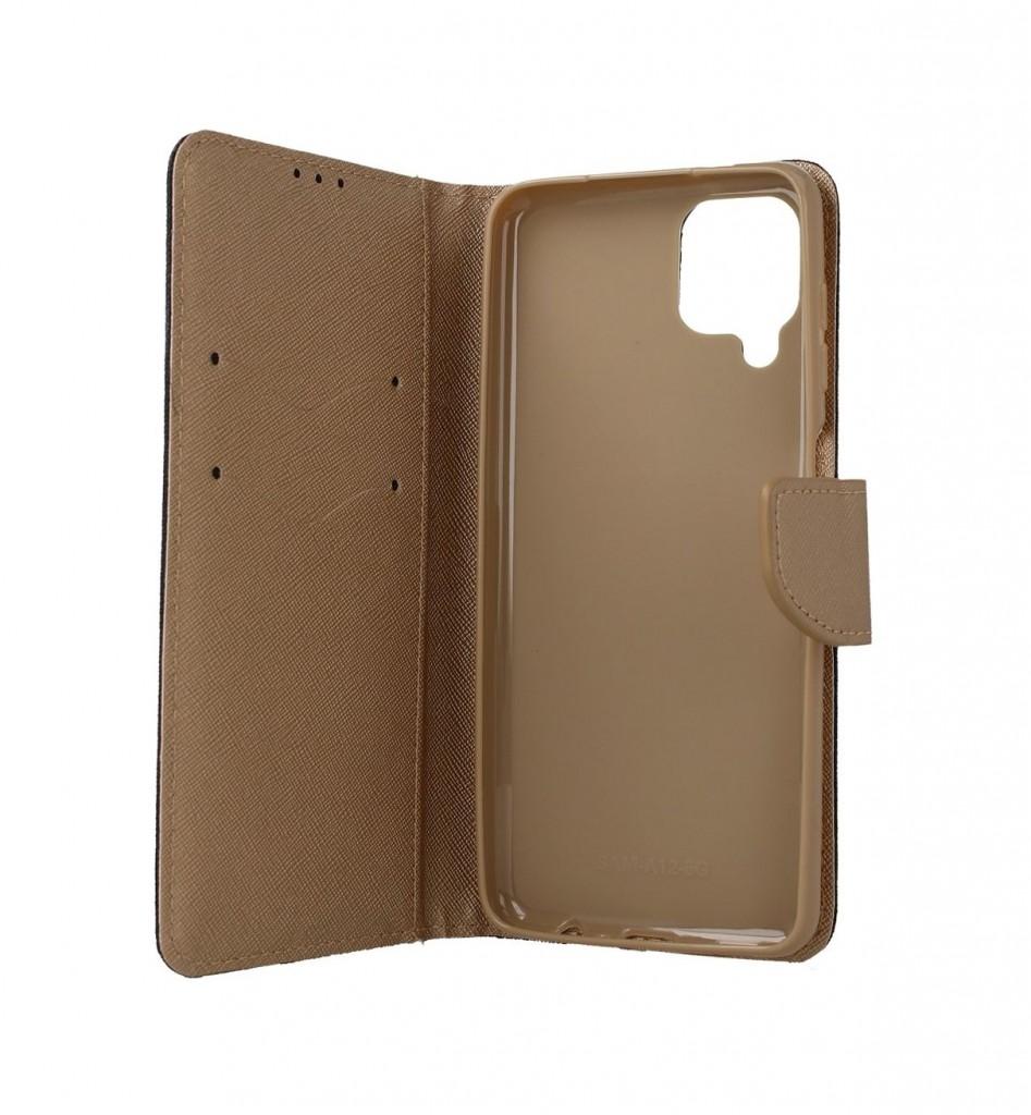 Knížkové pouzdro na Samsung A12 černo-zlaté (2)