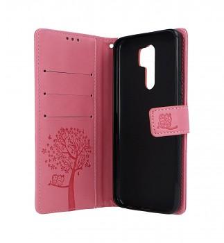 Knížkové pouzdro na Xiaomi Redmi 9 Růžový strom sovičky (2)