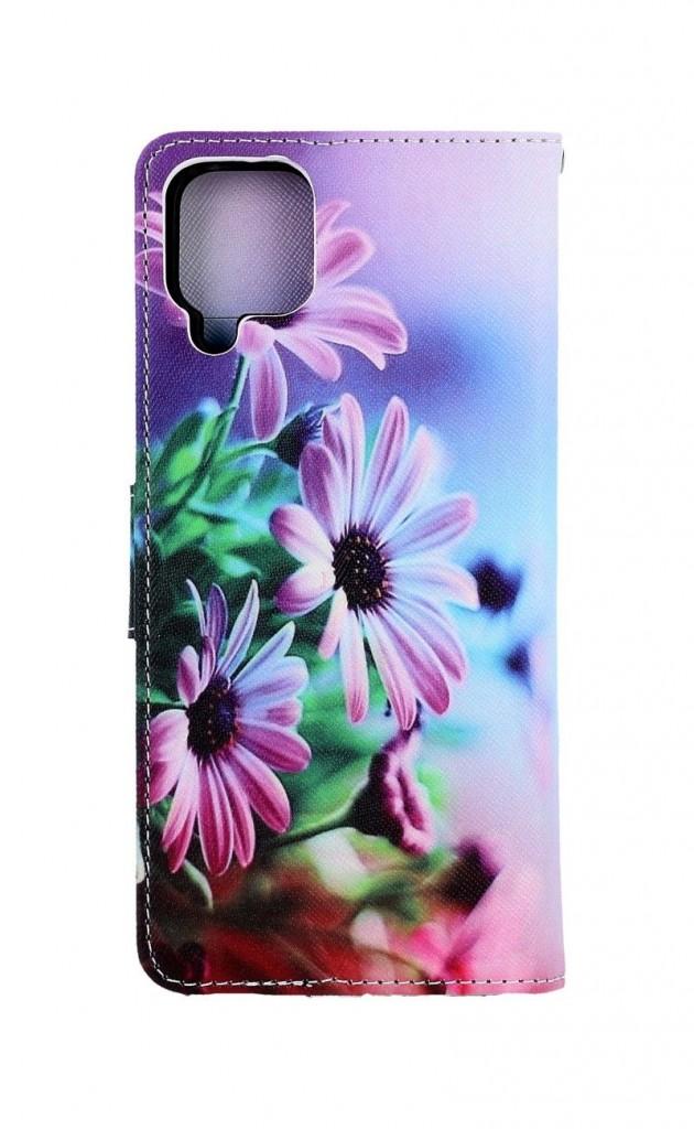 Knížkové pouzdro na Samsung A12 Fialové květy