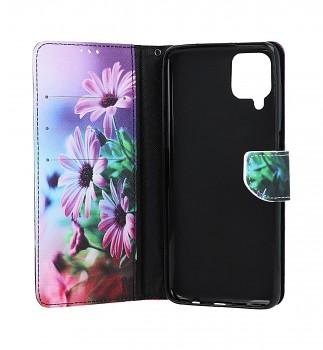 Knížkové pouzdro na Samsung A12 Fialové květy (2)