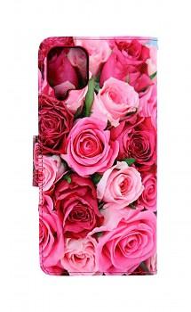 Knížkové pouzdro na Samsung A12 Růžové růžičky