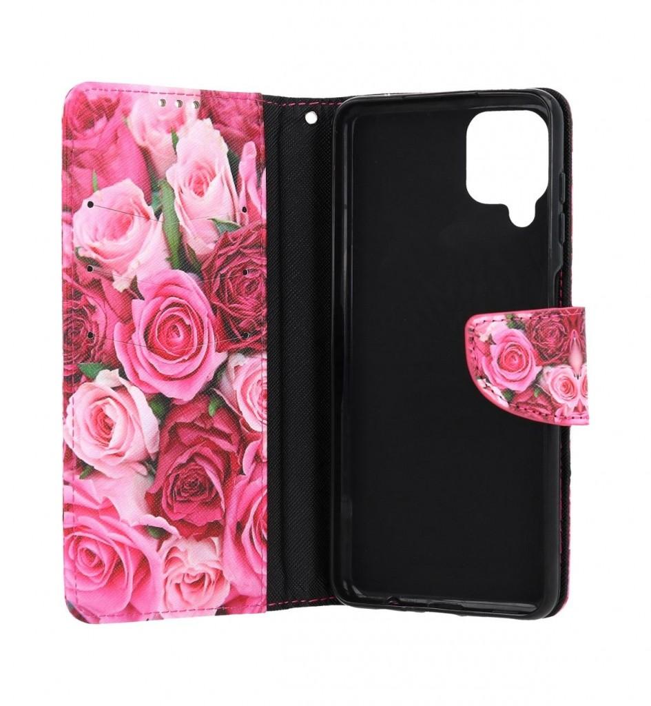 Knížkové pouzdro na Samsung A12 Růžové růžičky (2)