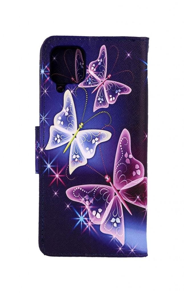 Knížkové pouzdro na Samsung A12 Modré s motýlky