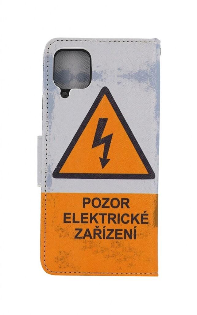 Knížkové pouzdro na Samsung A12 Pozor elektrické zařízení