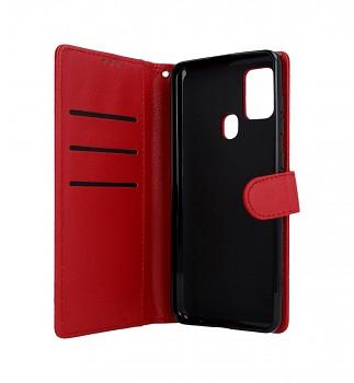 Knížkové pouzdro na Samsung A21s červené s přezkou (2)