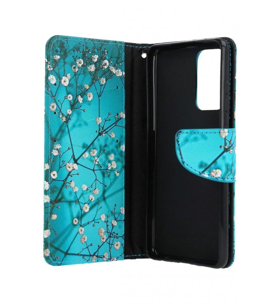 Knížkové pouzdro na Samsung A52 Modré s květy (2)