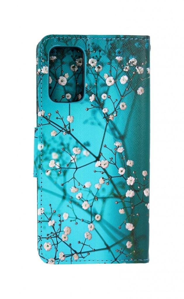 Knížkové pouzdro na Xiaomi Redmi 9T Modré s květy