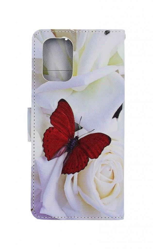Knížkové pouzdro na Xiaomi Redmi Note 10 Červený motýl