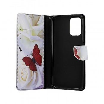 Knížkové pouzdro na Xiaomi Redmi Note 10 Červený motýl (1)