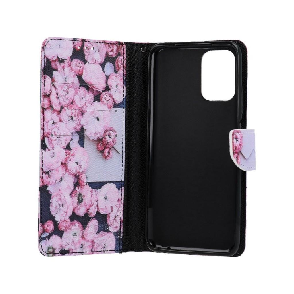 Knížkové pouzdro na Xiaomi Redmi Note 10 Růžové květy (1)