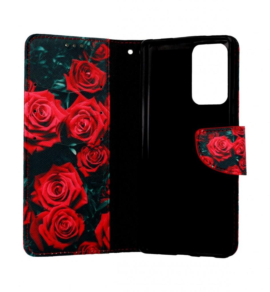 Knížkové pouzdro na Xiaomi Redmi Note 10 Pro Červené růžičky (1)