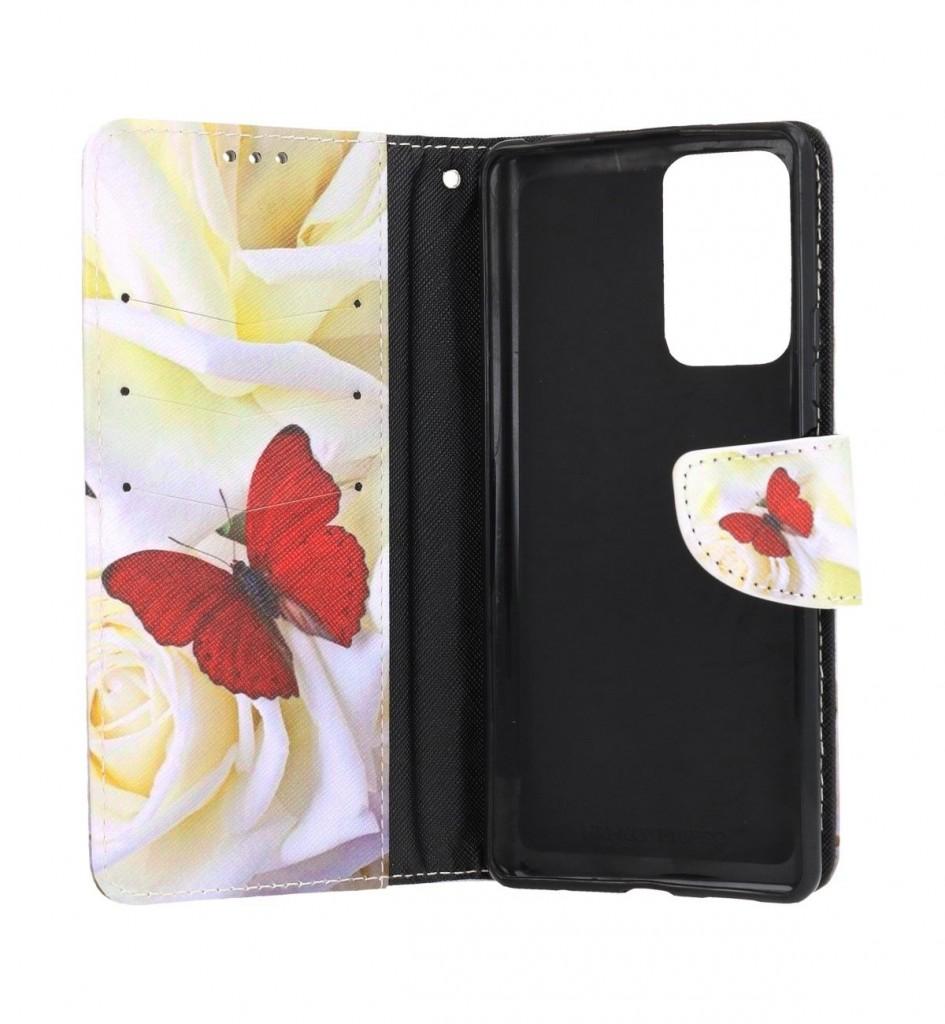 Knížkové pouzdro na Xiaomi Redmi Note 10 Pro Červený motýl (1)