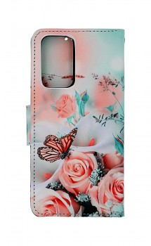 Knížkové pouzdro na Xiaomi Redmi Note 10 Pro Růže s motýlem