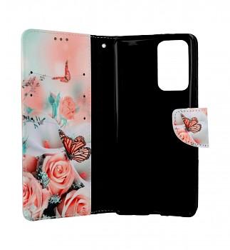 Knížkové pouzdro na Xiaomi Redmi Note 10 Pro Růže s motýlem (1)