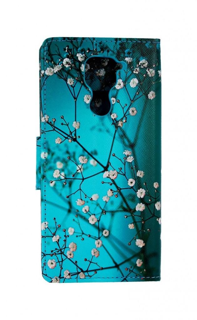 Knížkové pouzdro na Xiaomi Redmi Note 9 Modré s květy