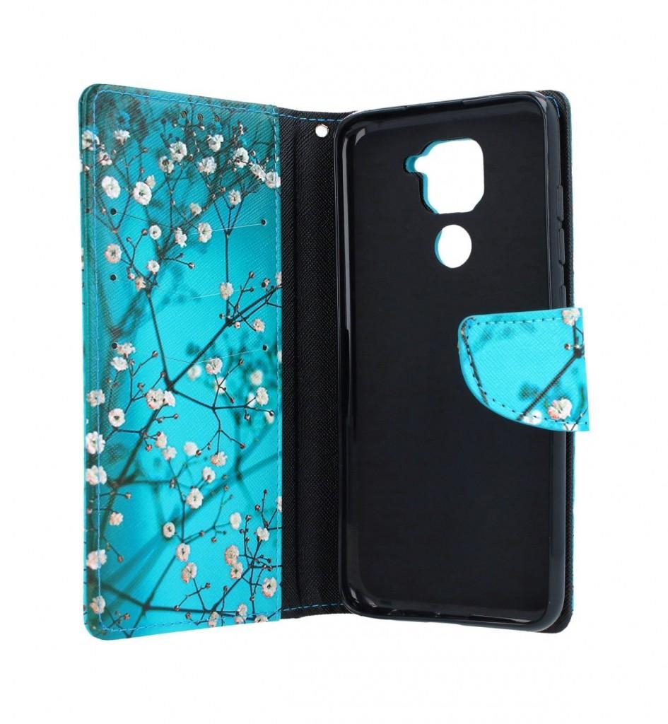 Knížkové pouzdro na Xiaomi Redmi Note 9 Modré s květy (2)