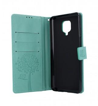 Knížkové pouzdro na mobil Xiaomi Redmi Note 9 Pro Zelený strom sovičky (2)