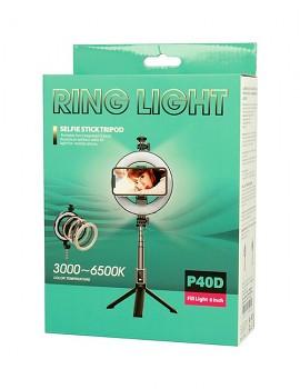 Bluetooth selfie tyč se stativem Ring Light P40D-2 s LED osvětlením Blister