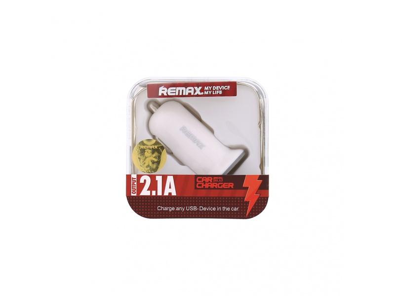 Autodobíječ USB mini Remax 2.1A bílý