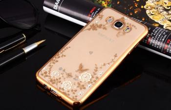 Zadní pouzdro Samsung J5 2016 zlaté s bílými květy