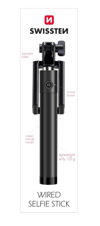 Selfie tyč Swissten s ovládáním na tyči černá