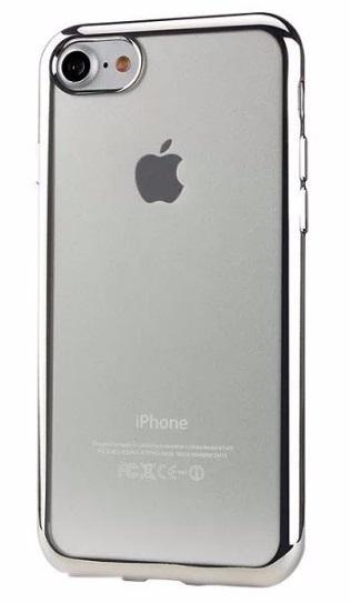 Pouzdro TopQ iPhone 7 silikon se stříbrným rámečkem (kryt neboli obal na mobil iPhone 7)