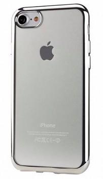 Zadní silikonové pouzdro neboli obal iPhone 7 se stříbrným rámečkem