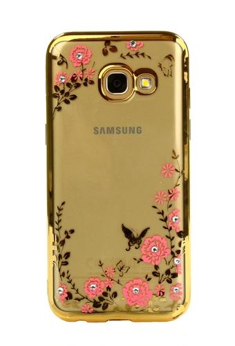 Pouzdro TopQ Samsung A3 2017 silikon zlatý s růžovými květy 16516 (kryt neboli obal na mobil Samsung A3 2017)