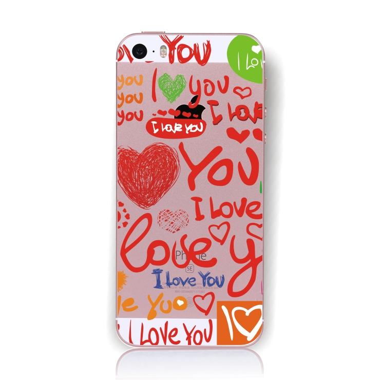 Pouzdro TopQ iPhone 5 / 5s / SE pevné Love 17786 (kryt neboli obal na mobil iPhone 5 / 5s / SE )
