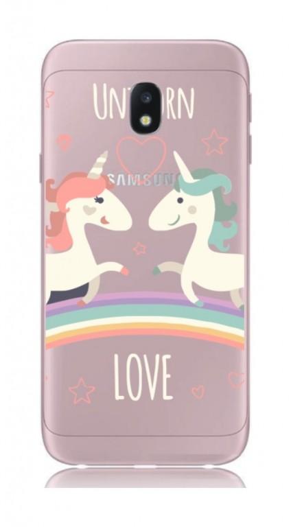 Pouzdro TopQ Samsung J7 2017 pevné Unicorn Love 21070 (kryt neboli obal na mobil Samsung J7 2017 J730F)
