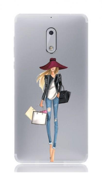 Pouzdro TopQ Nokia 6 silikon Lady 2 21156 (kryt neboli obal na mobil Nokia 6)
