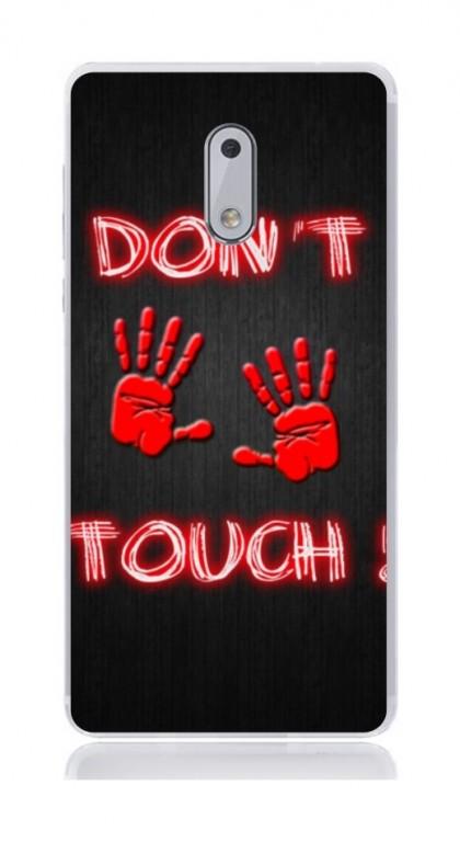 Pouzdro TopQ Nokia 6 silikon Don't touch red 21174 (kryt neboli obal na mobil Nokia 6)